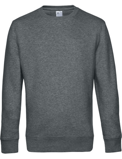 O82•B&C KING CREW NECK, 2XL, heather mid grey (16)